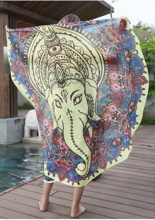 Mandala Elephant Totem Round Blanket