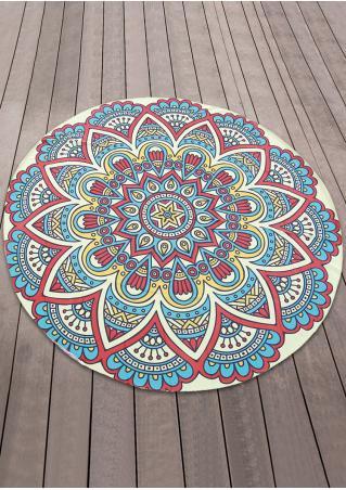 Mandala Flower Butterfly Round Blanket