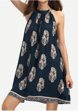 Printed Sleeveless Mini Shift Dress