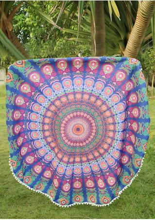 Mandala Peacock Printed Round Beach Blanket Brandless