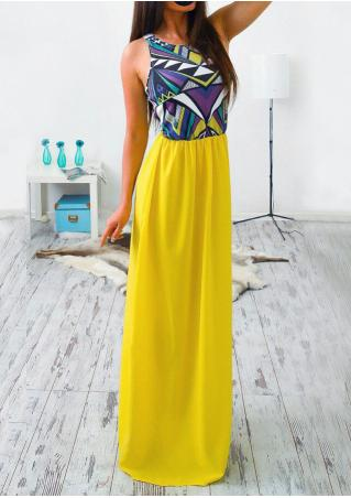 Multicolor Printed Splicing Casual Maxi Dress