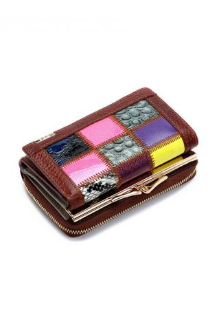Splicing Leather Fashion Clutch Wallet