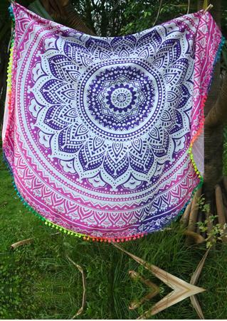 Mandala Flower Round Blanket