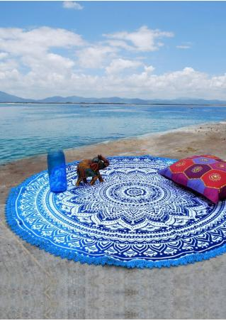 Mandala Lace Splicing Round Beach Blanket