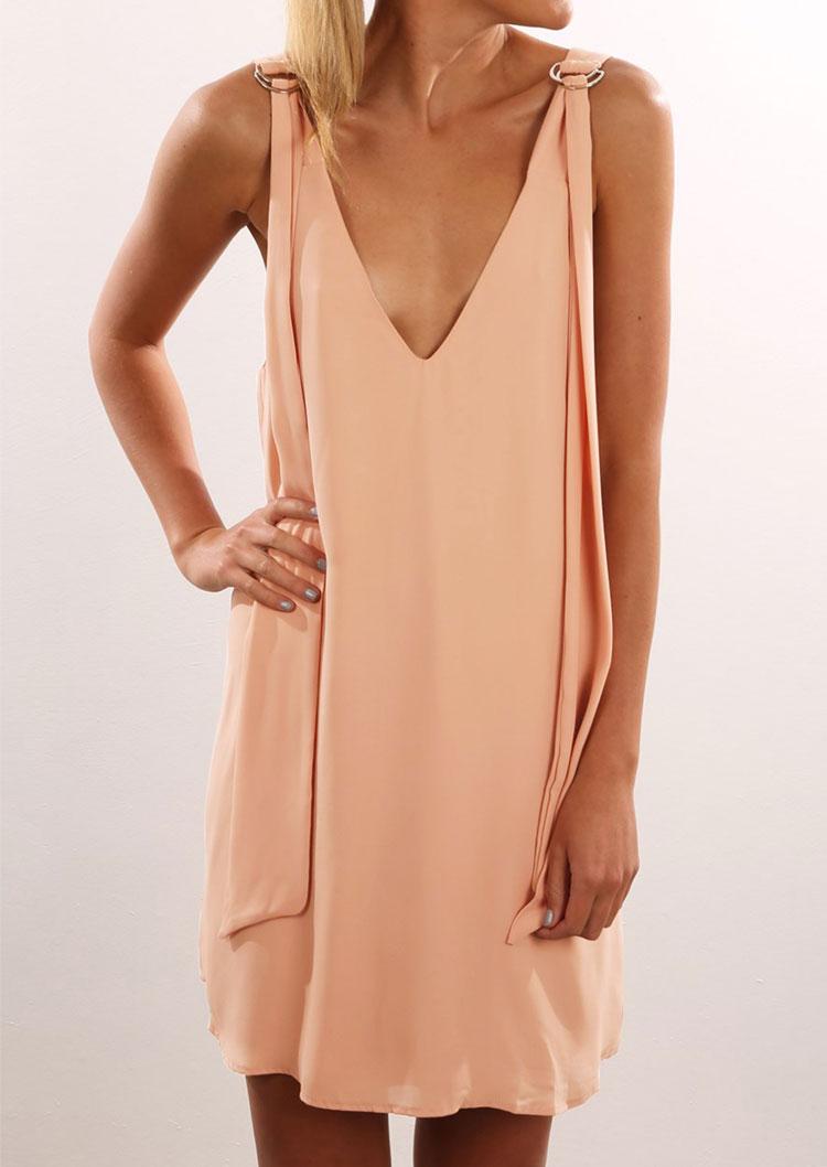 0bd9ad1e17ab Solid Deep V-Neck Mini Shift Dress - Fairyseason