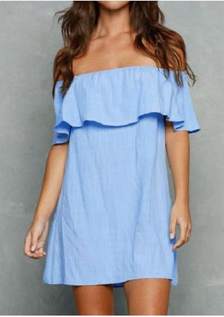 Solid Ruffled Slash Neck Mini Dress