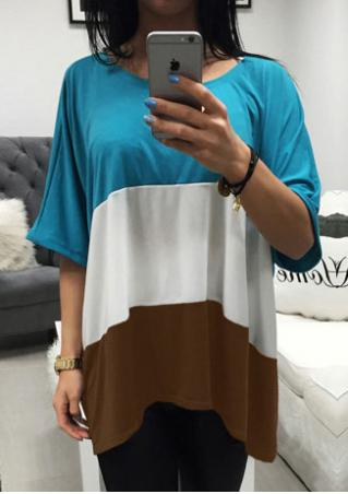 Color Block Half Sleeve Casual T-Shirt