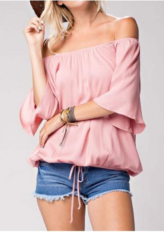 Solid Drawstring Slash Neck Fashion Blouse