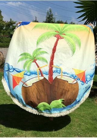 Coconut Tree Printed Round Blanket