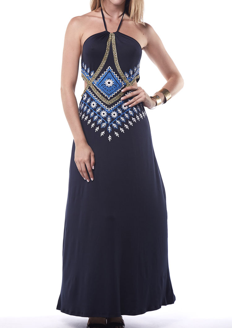d8e984be8e6c Printed Maxi Halter Dress - Fairyseason