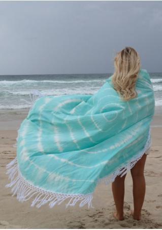 Tie Dye Printed Tassel Round Beach Blanket