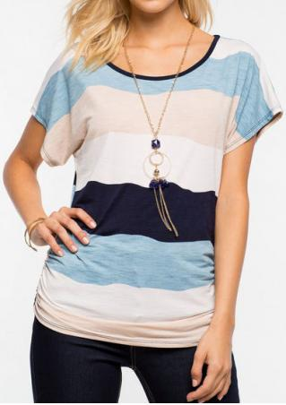 Color Block O-Neck Fashion T-Shirt Without Necklace