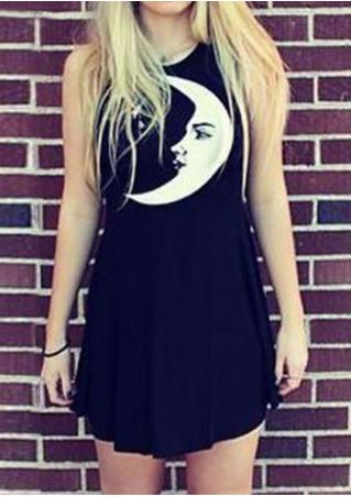 Moon Printed Sleeveless Mini Dress Without Necklace