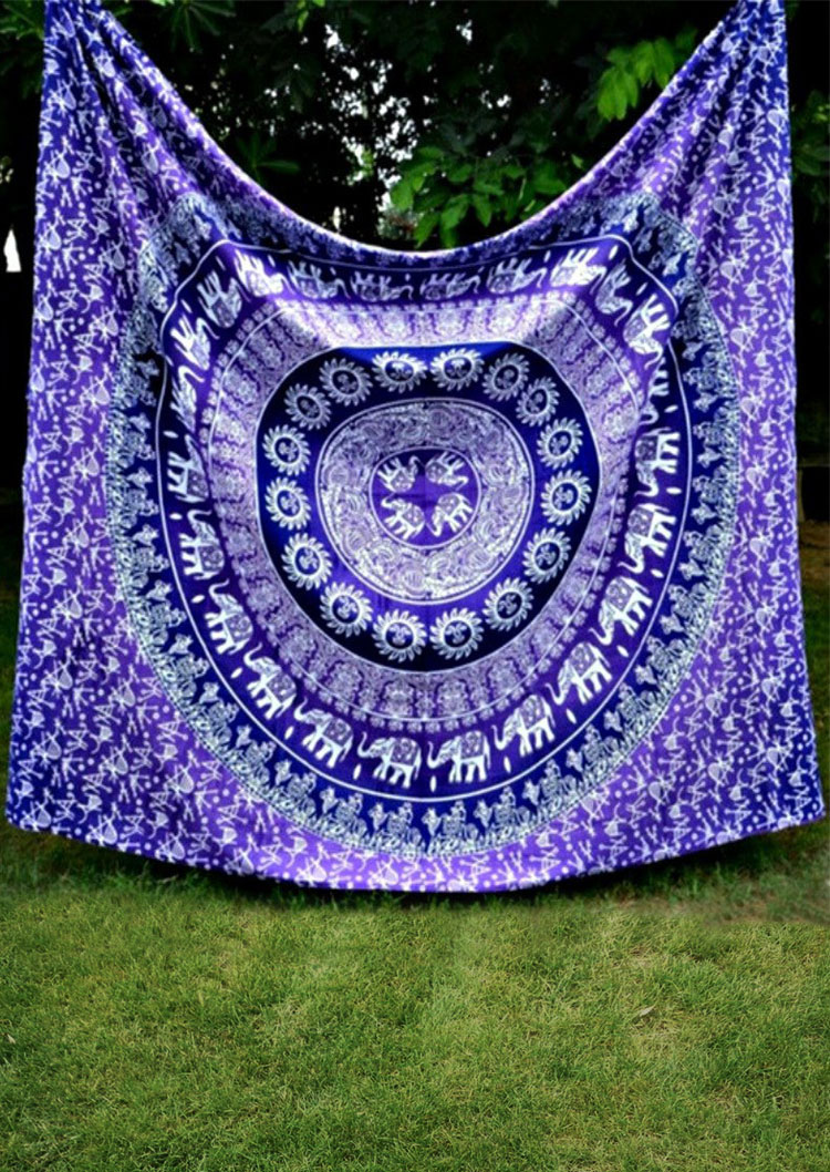 Mandala Elephant Square Blanket Fairyseason