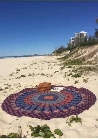 Mandala Peacock Round Beach Blanket