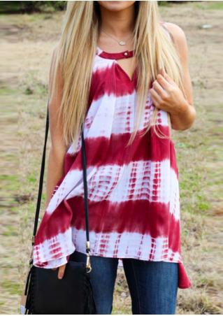 Tie Dye Printed Irregular Fashion Tank Without Necklace