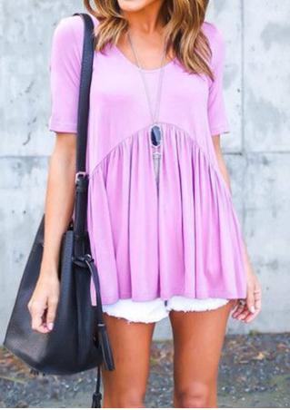 Solid Ruffled Fashion T-Shirt Without Necklace