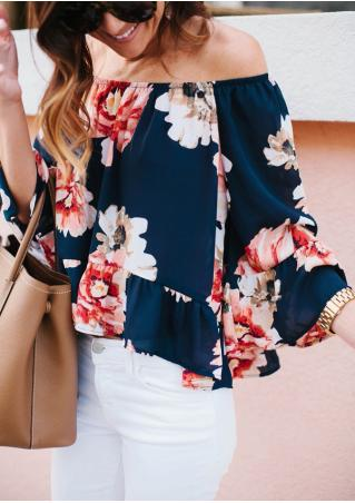 Floral Ruffled Slash Neck Fashion Blouse