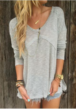Solid Long Sleeve Casual Sweater Without Necklace