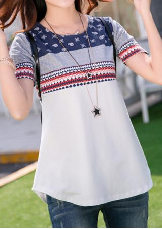 Printed Short Sleeve Casual T-Shirt Without Necklace