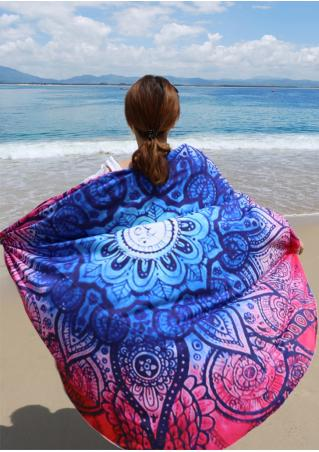 Flower Printed Round Beach Blanket