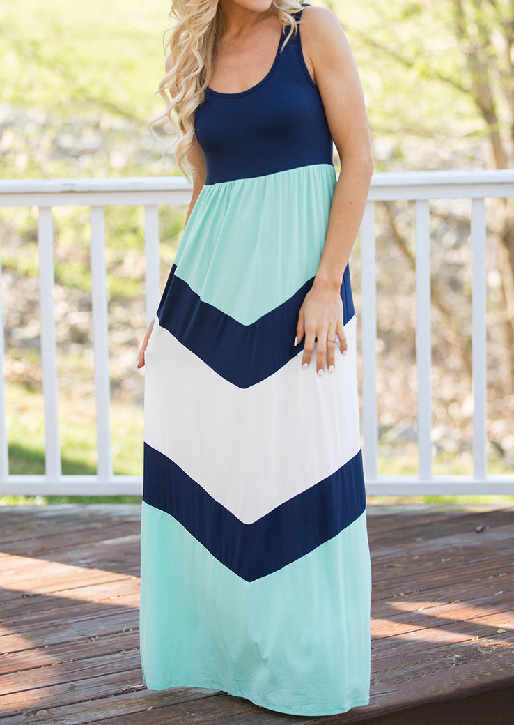 Color Block Maxi Dress Without Necklace фото