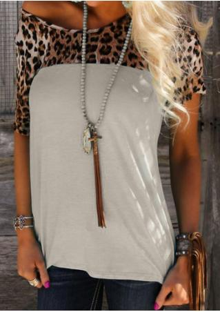 Leopard Splicing Fashion T-Shirt Without Necklace