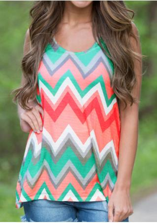 Zigzag Printed O-Neck Fashion Tank
