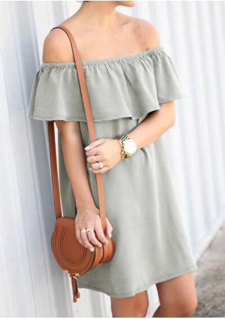 Solid Ruffled Slash Neck Mini Shift Dress