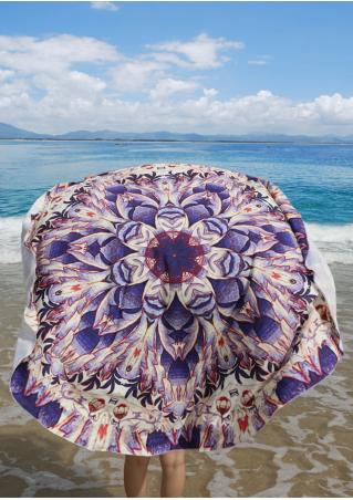 Multicolor Floral Printed Round Beach Blanket