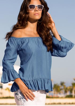 Solid Ruffled Hem Slash Neck Fashion Blouse