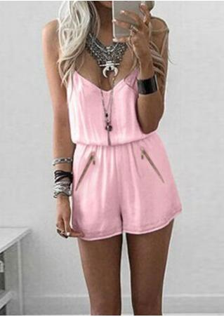 Solid Zipper Spaghetti Strap Romper Without Necklace