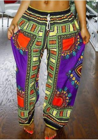 Ethnic Printed Casual Wide Leg Pants