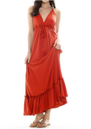 Solid Ruffled Halter Maxi Dress
