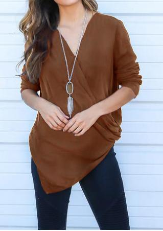 Solid Cross Long Sleeve Fashion Blouse Without Necklace