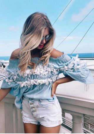 Appliques Ruffled Slash Neck Fashion Blouse