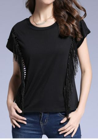 Solid Tassel Splicing Fashion T-Shirt Without Necklace