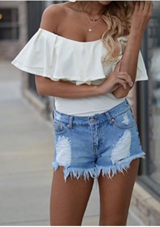 Solid Ruffled Slash Neck Blouse Without Necklace