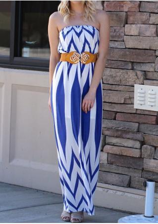Zigzag Printed Maxi Strapless Dress