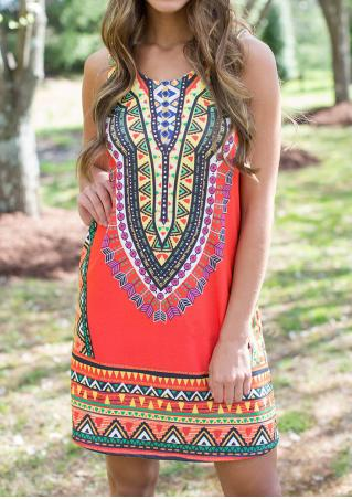 Ethnic Printed Sleeveless Mini Dress