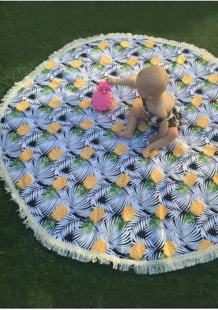 Pineapple Tassel Round Picnic Blanket