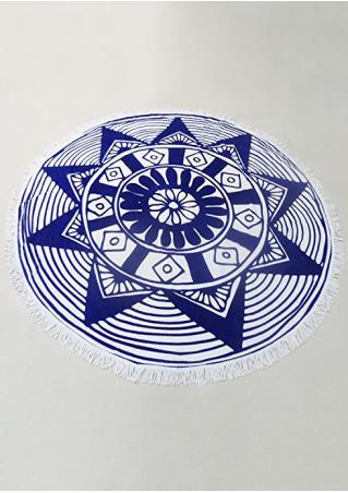 Printed Tassel Round Blanket