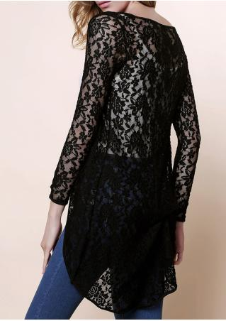 Solid Irregular Long Sleeve Lace Cardigan