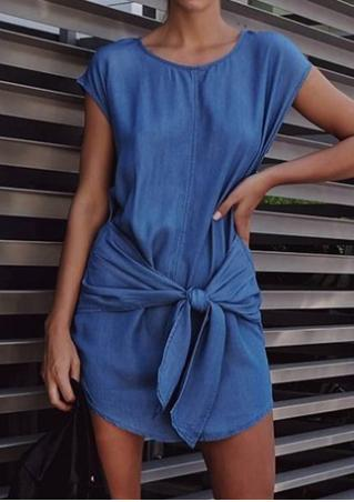 Solid Knot Mini Denim Dress