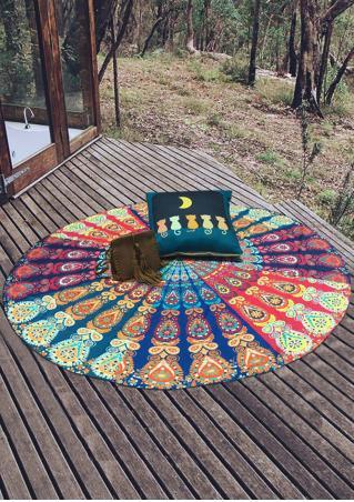 Mandala Multicolor Peacock Round Blanket
