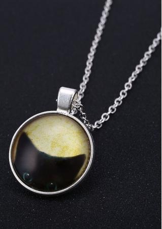 Cat Pattern Glass Pendant Necklace