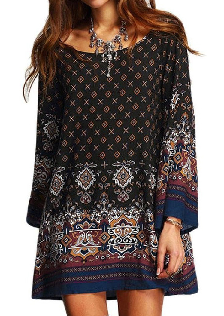 Ethnic Printed Mini Shift Dress Without Necklace