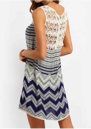 Lace Splicing Zigzag Printed Zipper Mini Dress