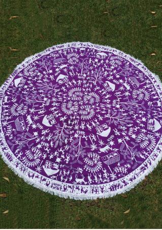 Multi-Pattern Printed Tassel Round Picnic Blanket