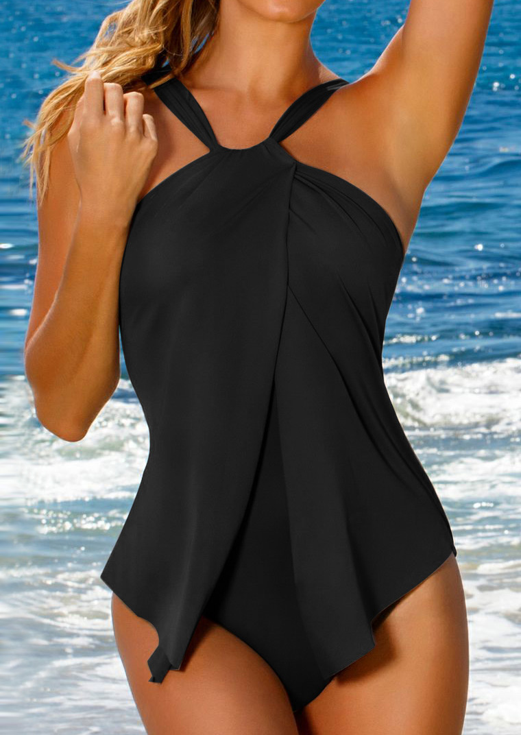 One-Pieces Cross One-Piece Swimsuit in Black,Blue,Army Green,Burgundy. Size: S,M,L,2XL,3XL фото